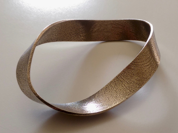 Flat Steel Mobius Band in Stainless Steel