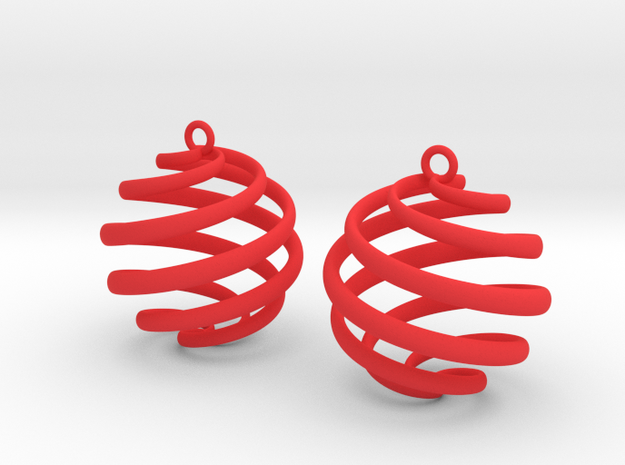 Archemedes Spiral Ball Earring Drop in Red Processed Versatile Plastic