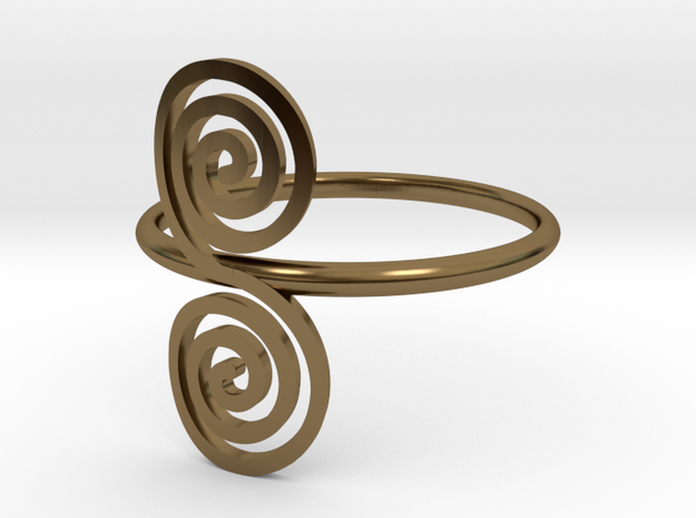 """Celtic """"life and death"""" double spiral ring in Polished Bronze"""