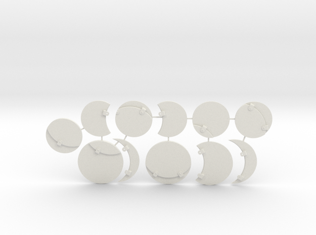 Miniature Base toppers  in White Natural Versatile Plastic