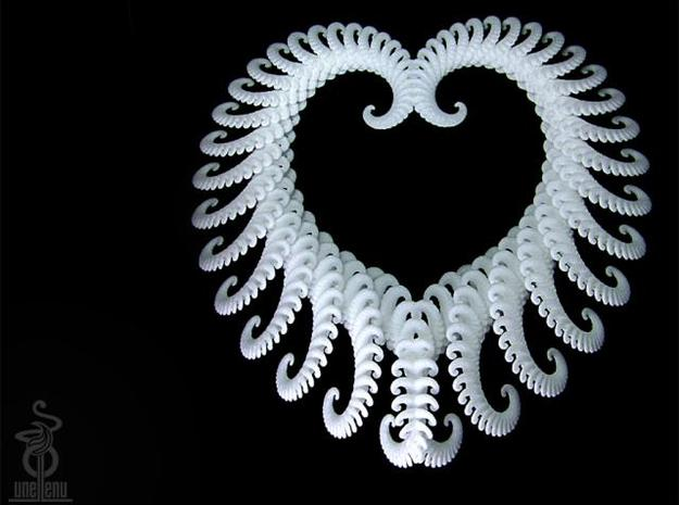 Fractal heart ornament / very large pendant 3d printed