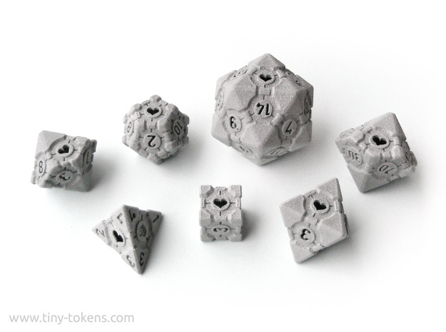 Companion Cube Polyhedral 7 Dice Set (+ decader) in Black Natural Versatile Plastic: Small