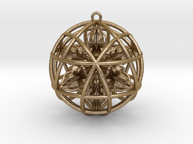 "Star Tetrasphere with Nested Octuple Dorje 2""  in Polished Gold Steel"