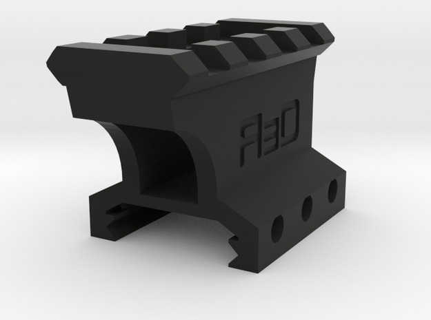 "1"" High 3 to 4 Slots Picatinny Riser (Offset) in Black Natural Versatile Plastic"