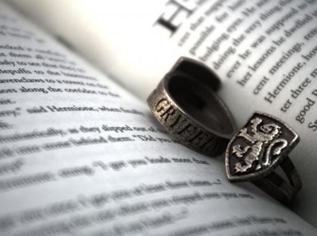 Gryffindor Ring Size 6 in Polished Bronzed Silver Steel