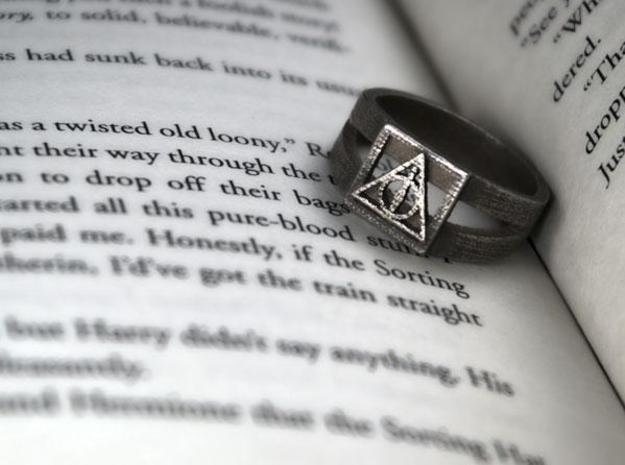 Deathly Hallows Ring Size 7 in Polished Bronzed Silver Steel