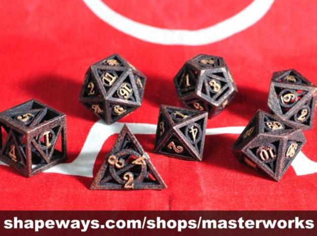 Deathly Hallows Dice Set 3d printed Black Strong & Flexible with Copper & Gold Rub'n'Buff