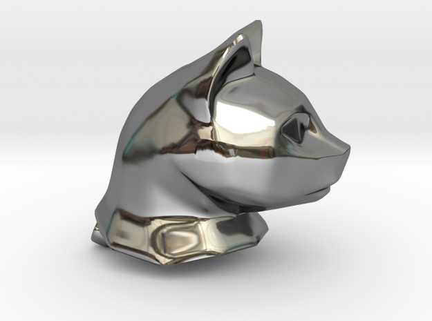 Cat Head Charm by Puybaret in Fine Detail Polished Silver