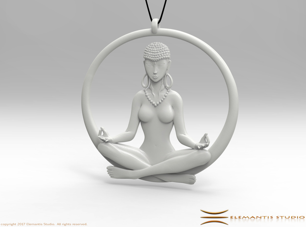 Sukhasana Yogini Pendant 6.5cm in White Premium Strong & Flexible
