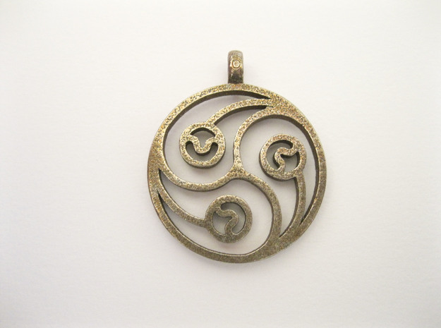 Trinity Pendant in Polished Bronzed Silver Steel