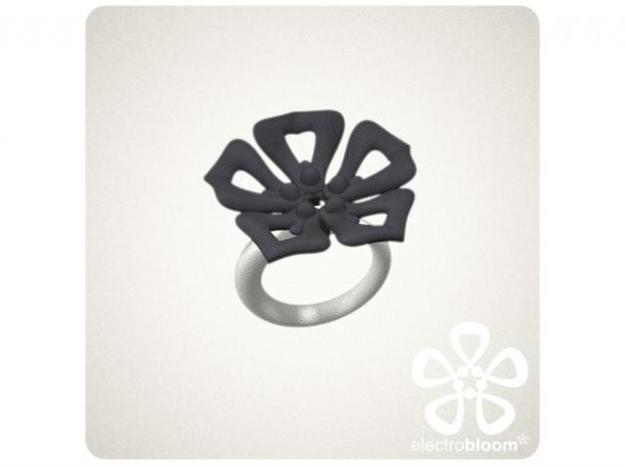 Jenny flower charm. 3d printed DARK GREY JENNY FLOWER CHARM ON WHITE SNAP RING