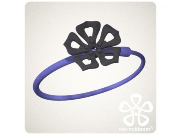 Jenny flower charm. 3d printed DARK GREY JENNY FLOWER CHARM ON INDIGO SNAP BANGLE