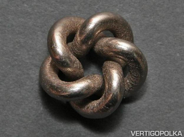 Cinquefoil Knot 1inch in Polished Bronzed Silver Steel