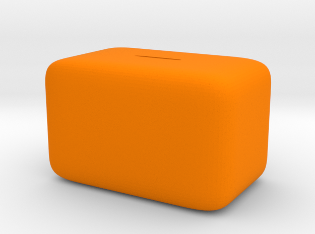 Donation Box Piggy Bank in Orange Strong & Flexible Polished