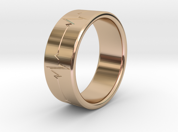 Heartbeat ring in 14k Rose Gold Plated Brass
