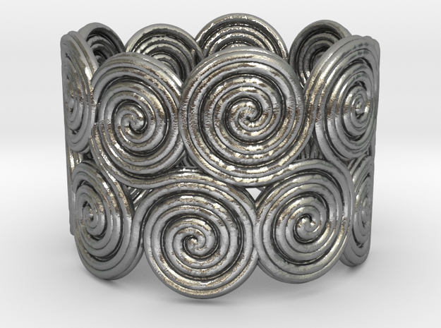 The celtic water-spiral endless ring in Natural Silver