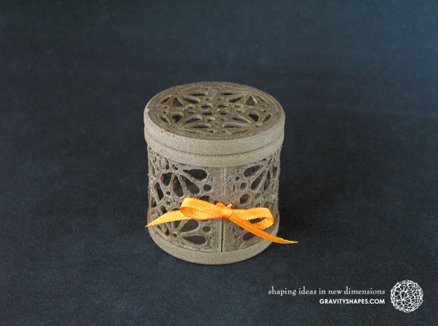 Gift Box No. 1 with Mosaic-3 (filigree, high) in Black Natural Versatile Plastic