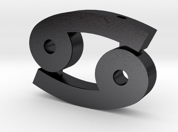 Cancer Symbol Pendant in Polished and Bronzed Black Steel