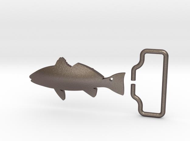 Redfish Belt Buckle w/ Loop in Polished Bronzed Silver Steel