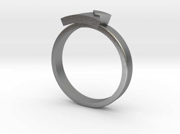 TRIANGLE Ring in Raw Silver