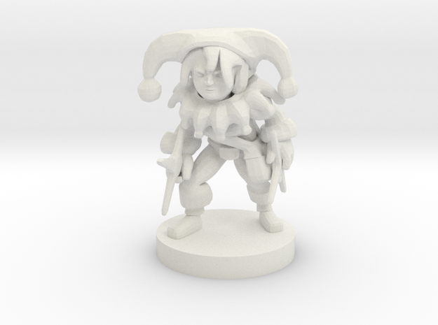 Halfling Female Circus Bard w/Star Knives in White Natural Versatile Plastic