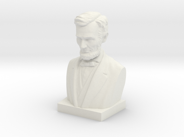 Abraham Lincoln Bust in White Natural Versatile Plastic