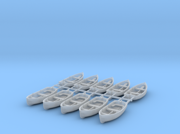 1/144 Scale Allied 10ft Dinghy x10 Rudder Outboard in Smoothest Fine Detail Plastic