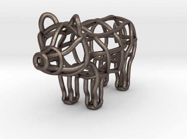 piggy keychain in Stainless Steel