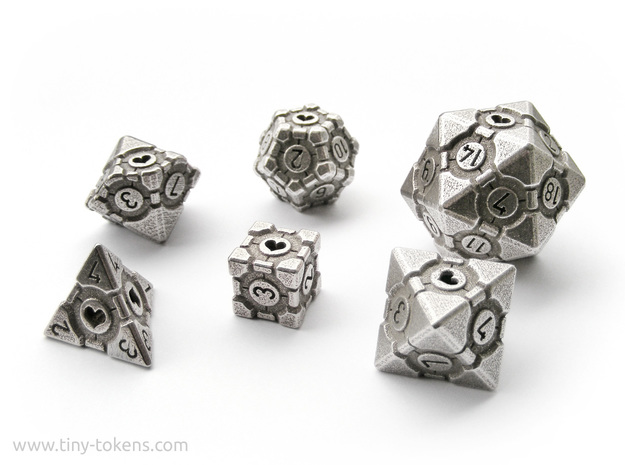 Companion Cube Polyhedral 6 Dice Set in Polished Bronzed Silver Steel: Small