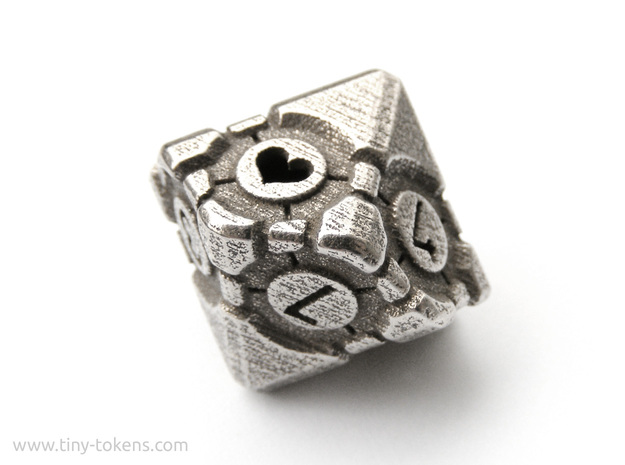 Companion Cube D10 - Portal Dice in Polished Bronzed Silver Steel: Small