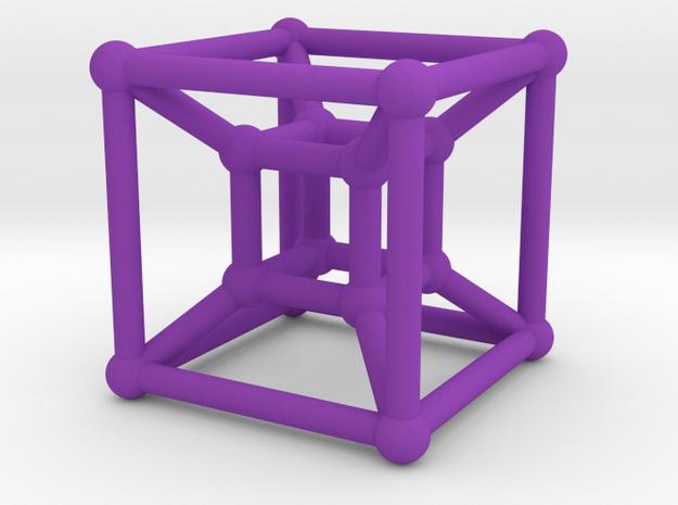 HyperCube (Miniature) in Purple Processed Versatile Plastic