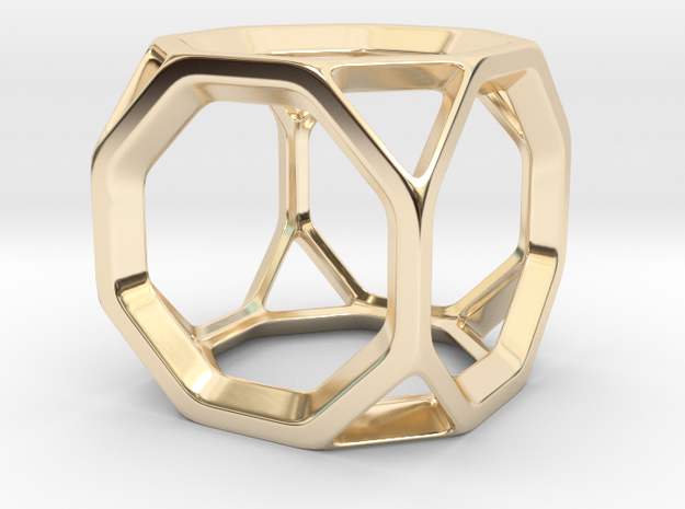 Geodesic Wire ::: Square Pendant in 14k Gold Plated Brass