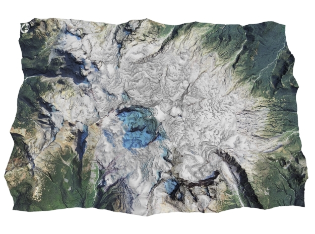 "Mount Baker Map: 6""x9"" in Coated Full Color Sandstone"
