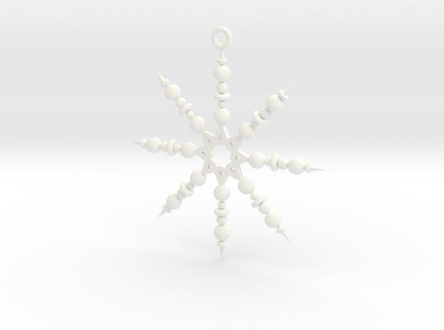 Beaded Snowflake Ornament in White Processed Versatile Plastic