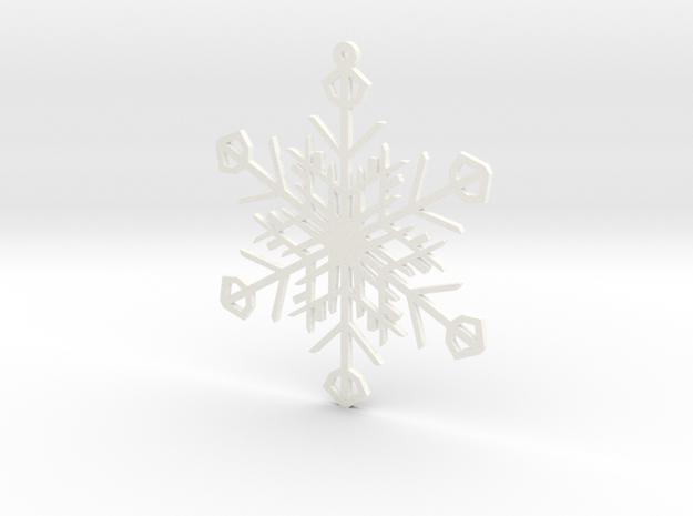Latticework Snowflake Ornament in White Processed Versatile Plastic