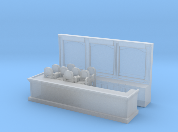 Bar & 8 Stools 144:1 Scale in Smooth Fine Detail Plastic