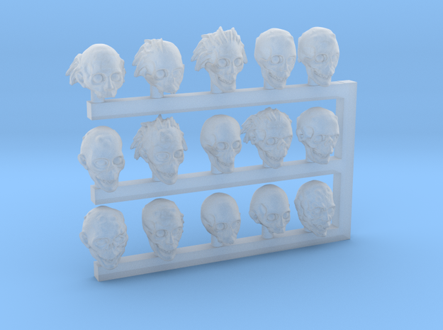 28mm Zombie / Ghoul / Undead / Monster Heads in Smooth Fine Detail Plastic