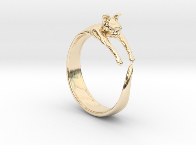 Sphynx Cat Ring in 14k Gold Plated Brass