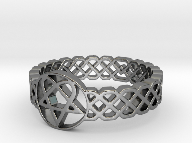 Love Metal Knot Band Ring in Polished Silver: 5 / 49