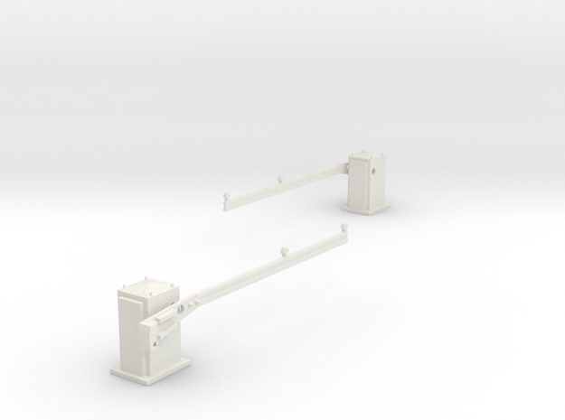 SPX UK level crossing barriers (AHB) 00,H0 in White Natural Versatile Plastic