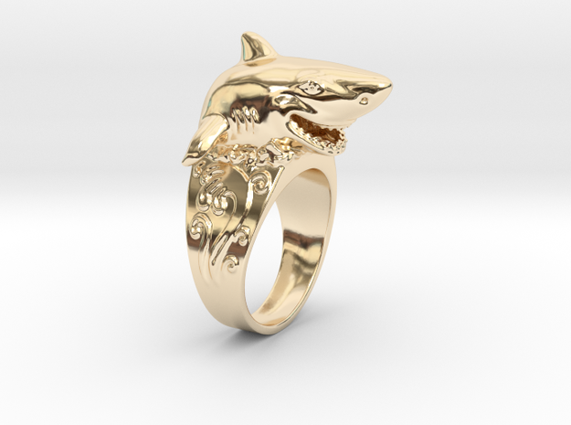 Shark Ring Jump in 14k Gold Plated Brass