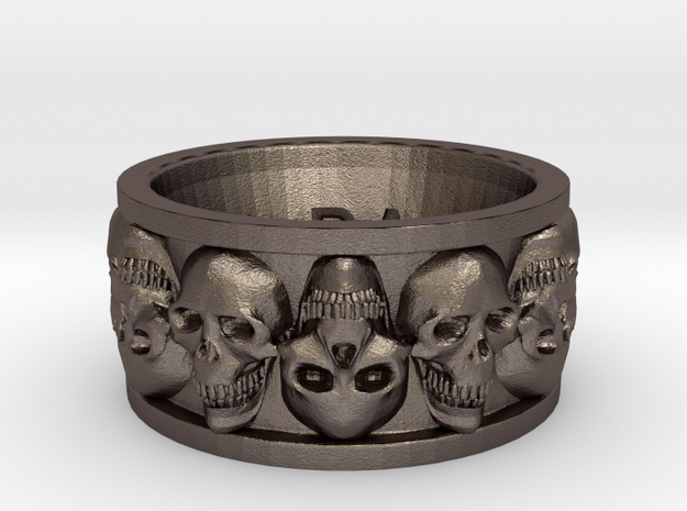 Faced Skullring (Size 10) in Polished Bronzed Silver Steel
