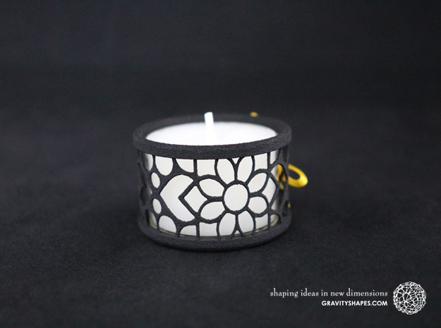 Small tealight holder with Mosaic-2 in Black Natural Versatile Plastic