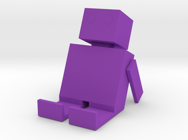 Square Man Phone Stand in Purple Processed Versatile Plastic