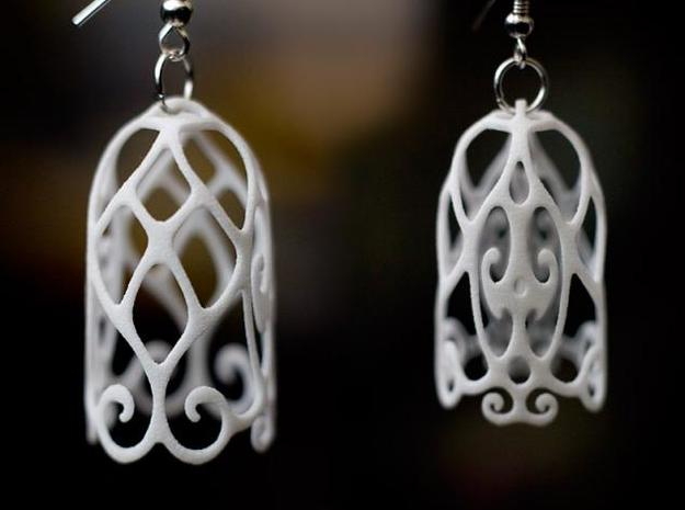 Filigree Bell Shaped Earrings in White Strong & Flexible Polished
