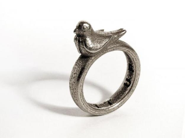 Office Bird Ring (various sizes) in Polished Bronzed Silver Steel
