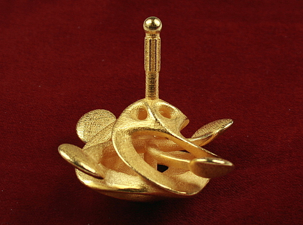 Spinning Top No.1 in Polished Gold Steel