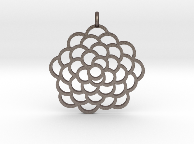 Fibonacci Pinecone Pendant in Polished Bronzed Silver Steel