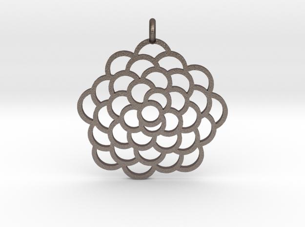 Fibonacci Pinecone Pendant in Polished Bronzed Silver Steel