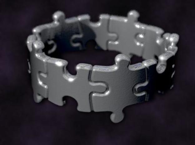 Puzzle Ring 01 size 7 3d printed Rendered to simulate silver